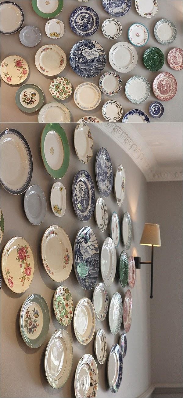 Hatties of Baslow - Vintage plates on wall