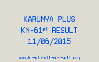 Karunya Plus KN 61 Lottery Result 11-6-2015