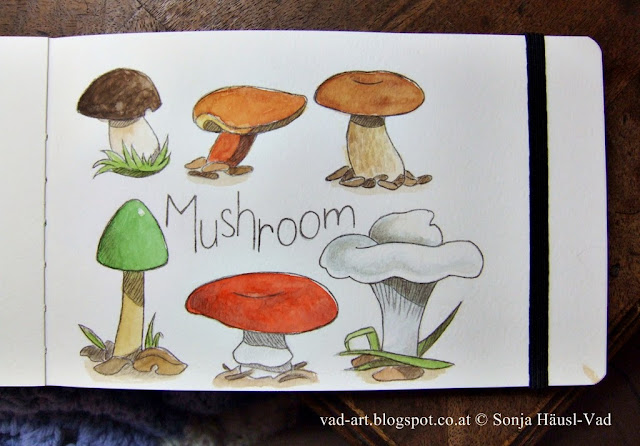 sketchbook, mushroom