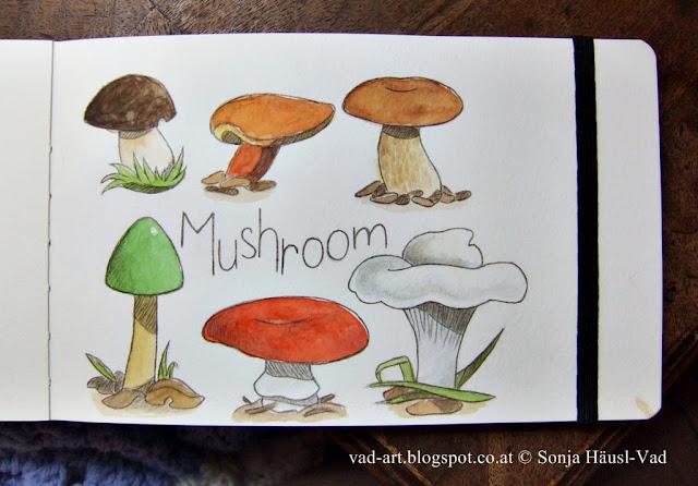 sketchbook, mushroom