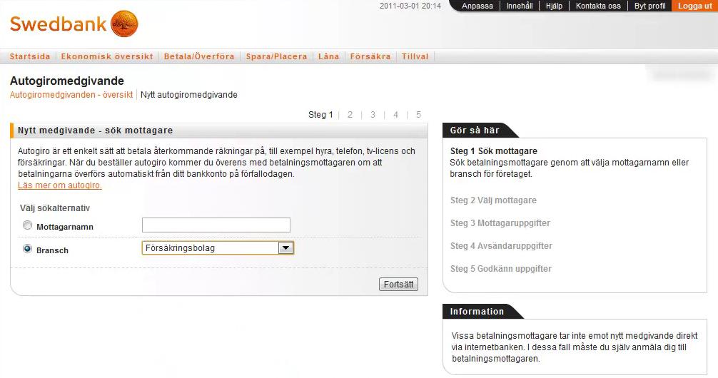 Swedbank Account Deposit Screen