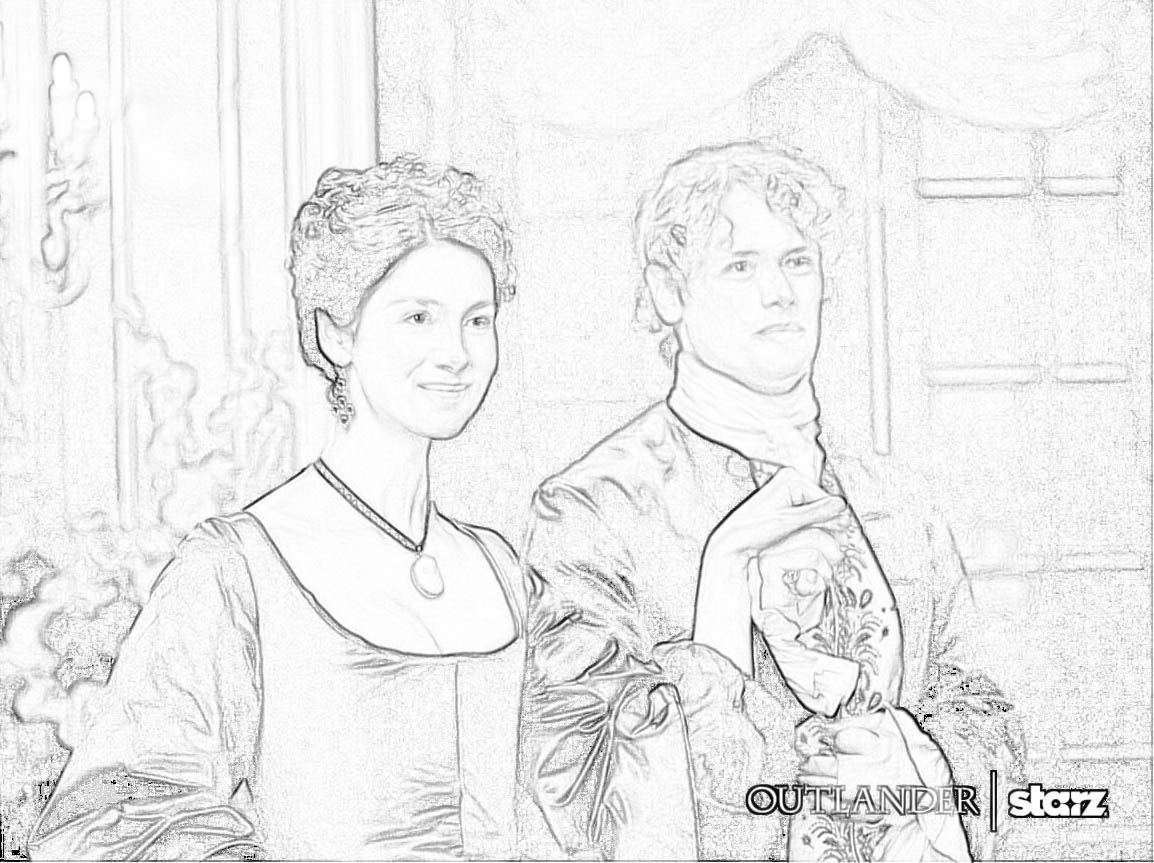 Jamie And Claire At A Party In France Outlander Season 2 This The Next Are My First Attempt Converting Images Lines Harder