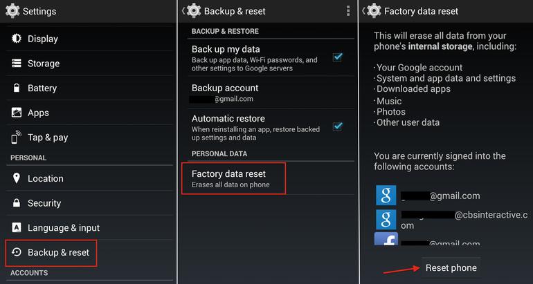 Hard Reset Sony Xperia J ST26i/a using menu