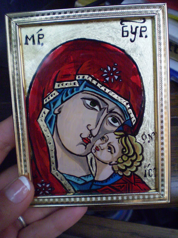 icon, The Virgin small,  hand painting, oil on glass,