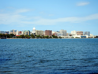 View of downtown Madison, Wisconsin and Lake Monona
