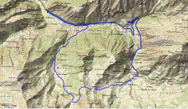 Mapa topográfico Ruta del Gumial