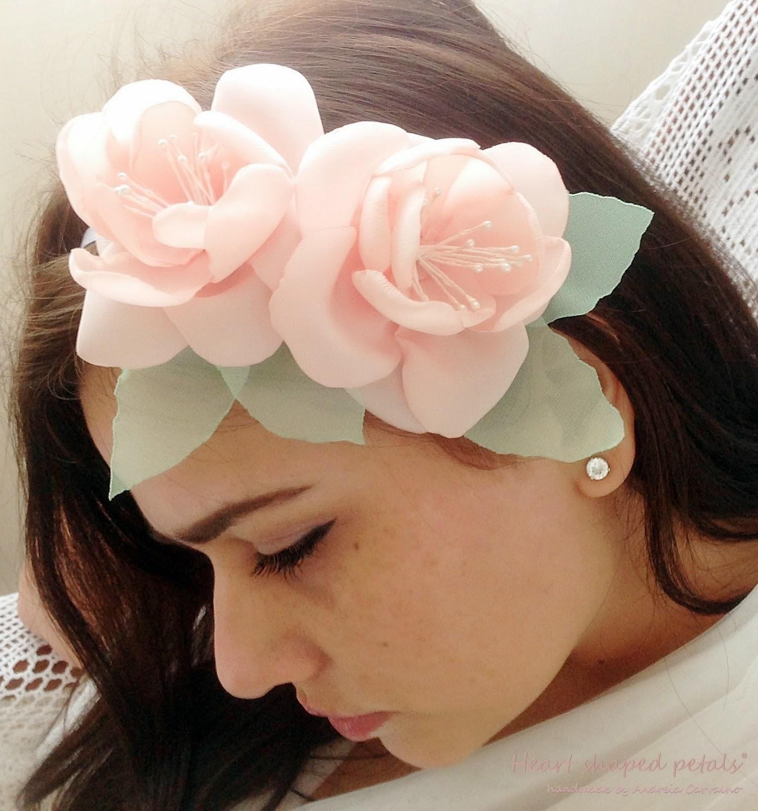Bridal pink hair flowers