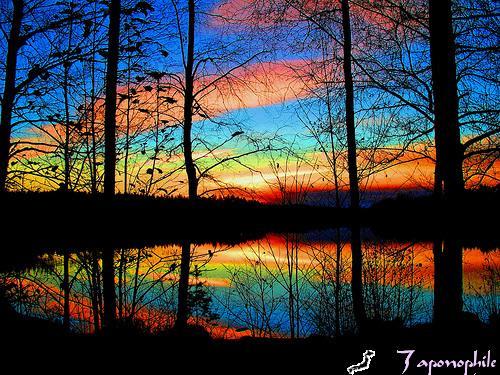 color sunset scene