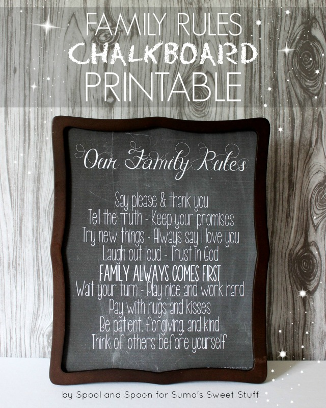 Family Rules Chalkboard Printable by http://www.spoolandspoonblog.com