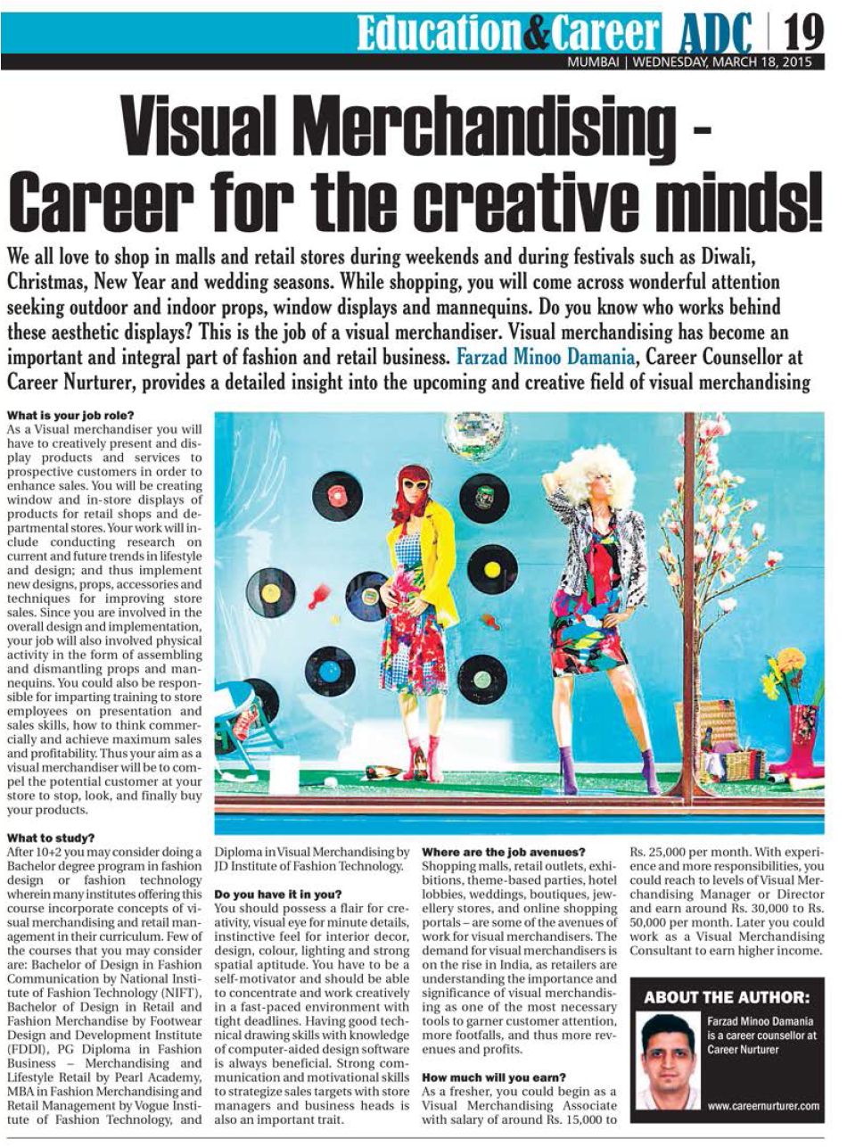career counselling aptitude test centre career guidance you the article at visual merchandising career for the creative minds article by farzad minoo damania in afternoon dc newspaper