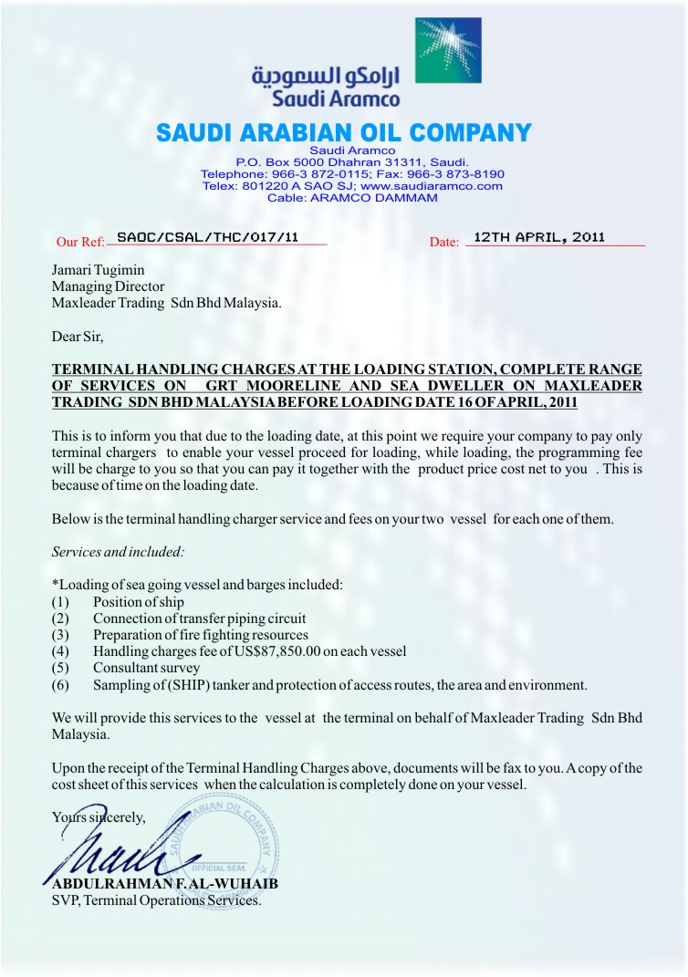 FAKE OPEC PERMIT, FAKE LETTER AND FAKE EMAILS