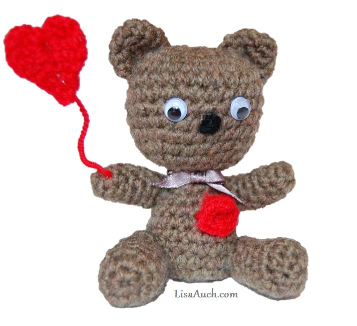 Free Crochet Pattern for a Tiny Teddy - Baby Bear Heart ...