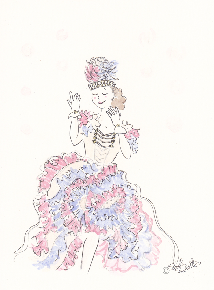 Fashion illustration : Mitzi Ruffled in Pink, Ivory and Blue © Shell-Sherree
