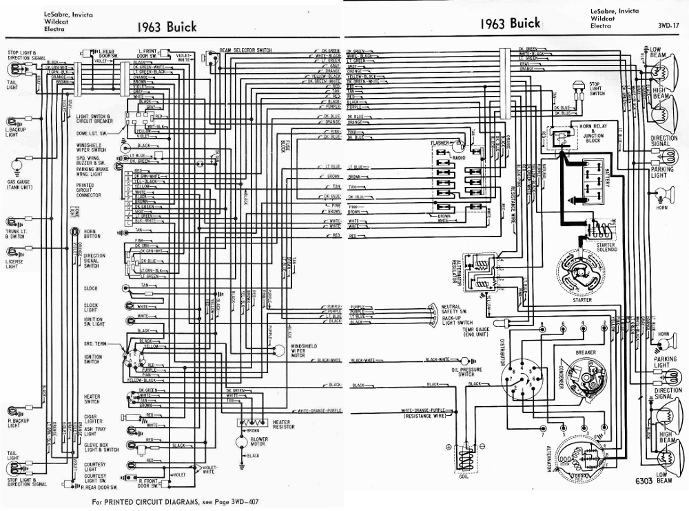Buick Lesabre  Invicta  Wildcat  And Electra 1963 Complete Electrical Wiring Diagram