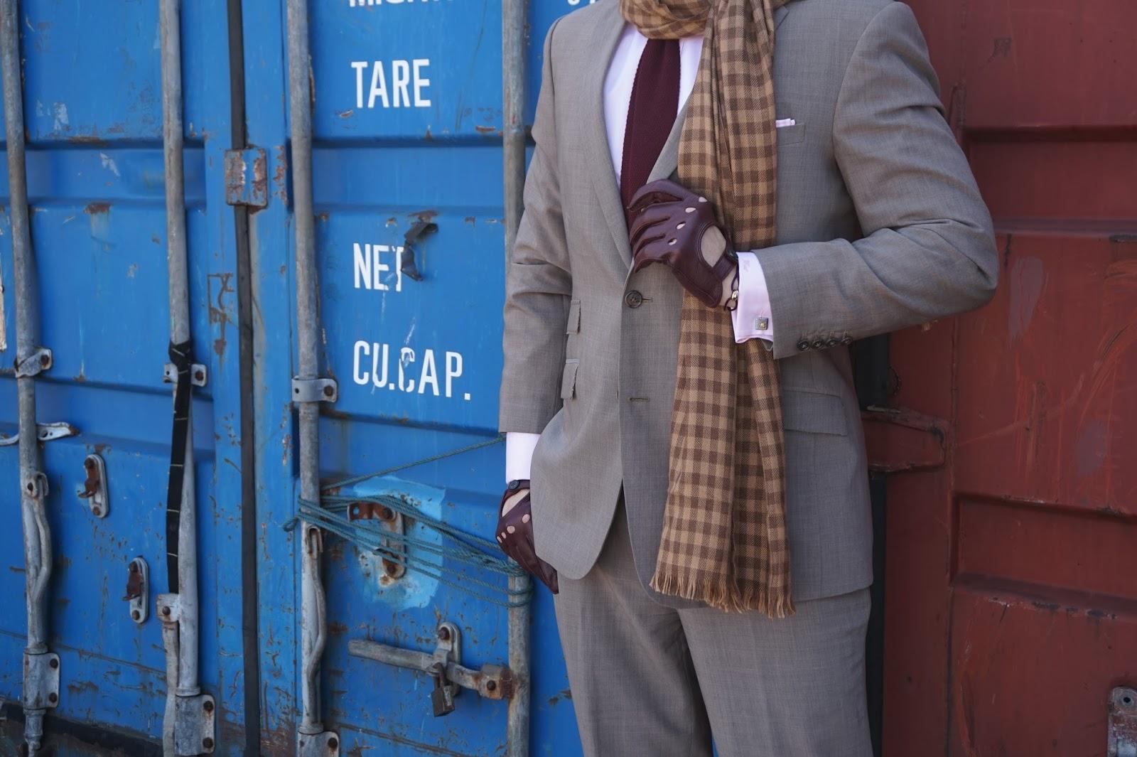 Watsons Winter Wednesday Brown Suit tie shirt professional work clothes men gentlemen scarf driving gloves