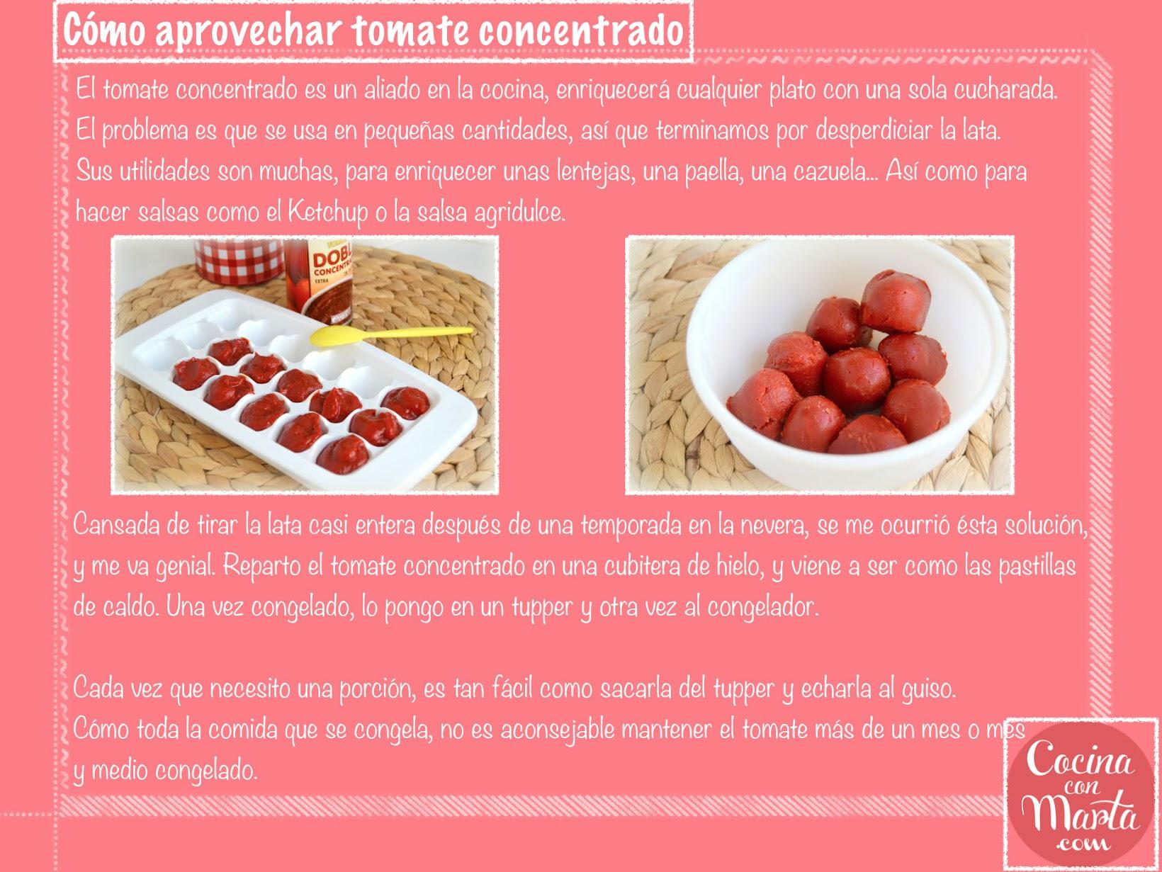 Trucos y consejos de cocina. Cómo aprovechar el tomate concentrado. Cocina con Marta