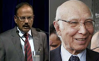 National Security Advisor Ajit Doval (L), and Pak NSA Sartaj Aziz (R)