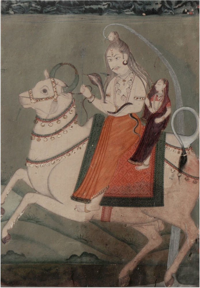 Vrishavahana Shiva with Parvati, Pahari School - Circa 1820-1840
