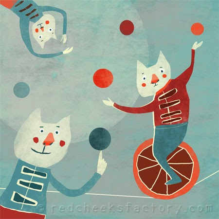 circus cats in retro colors are making fun with each other