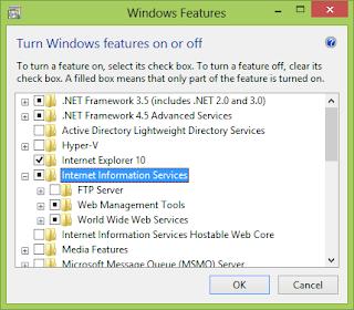 Cara Install IIS Windows 8
