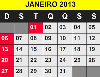 Calendário Janeiro 2013