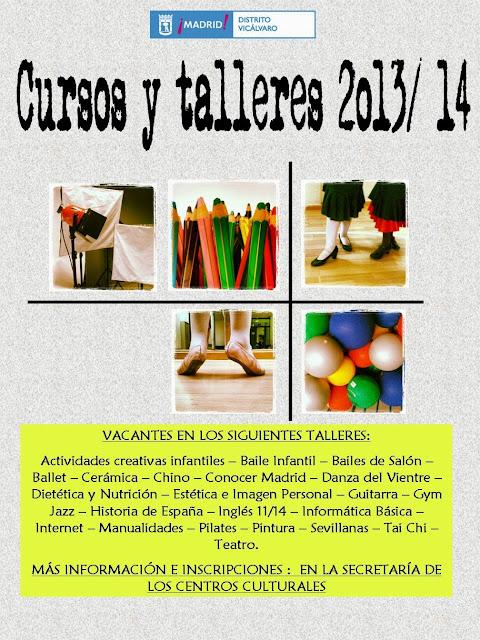 Vacantes en talleres de los Centros Culturales de Vicálvaro 2013/14