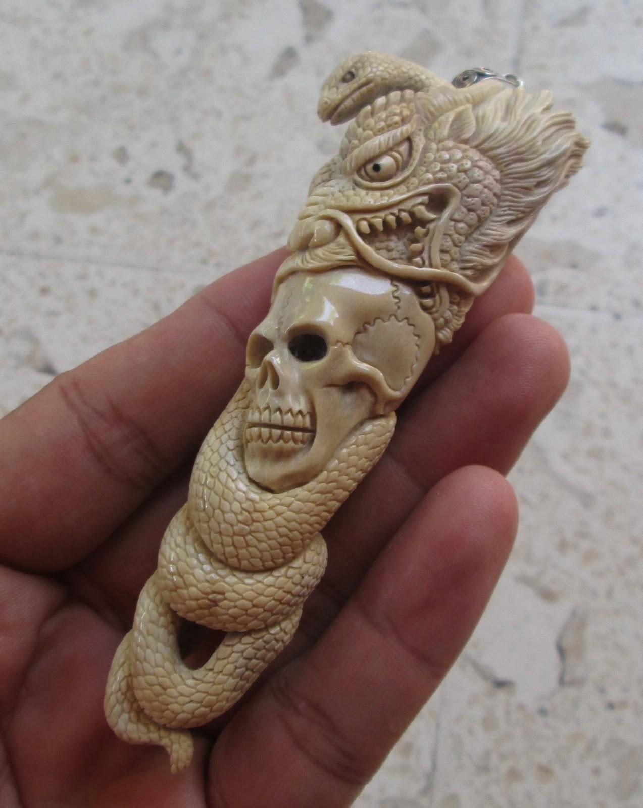 Snake Dragon Skull Pendant in Antler