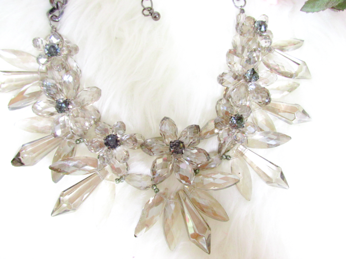 Jane Stone Chunky Crystal Statement Necklace Grey - $29.99