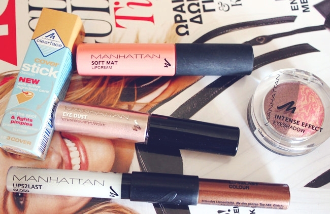 Manhattan makeup haul: lip gloss, eyeshadows, lip cream, concelear. Manhattan makeup review. Manhattan sminka.