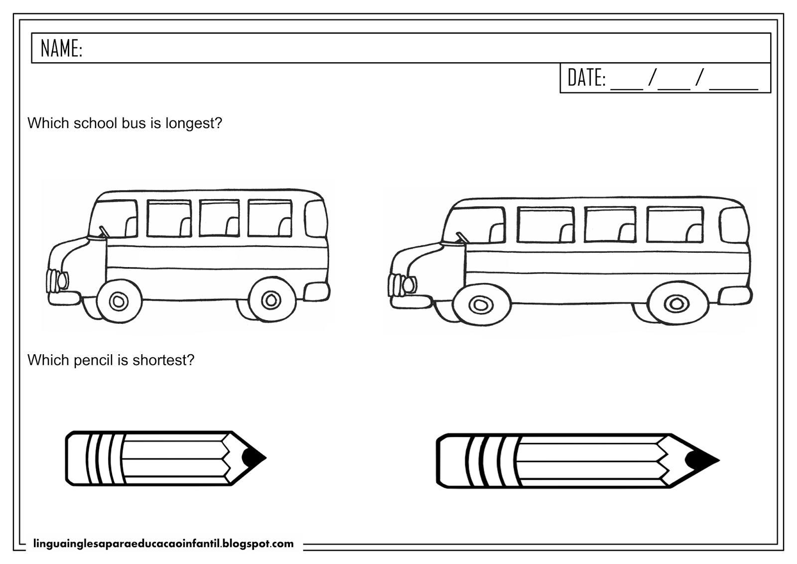 Atividade de Inglês - 'Short' e 'Long' para educação infantil