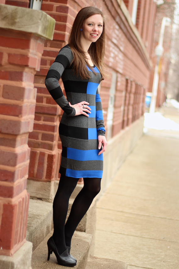 Bold Striped Long Sleeved Dress | StyleSidebar