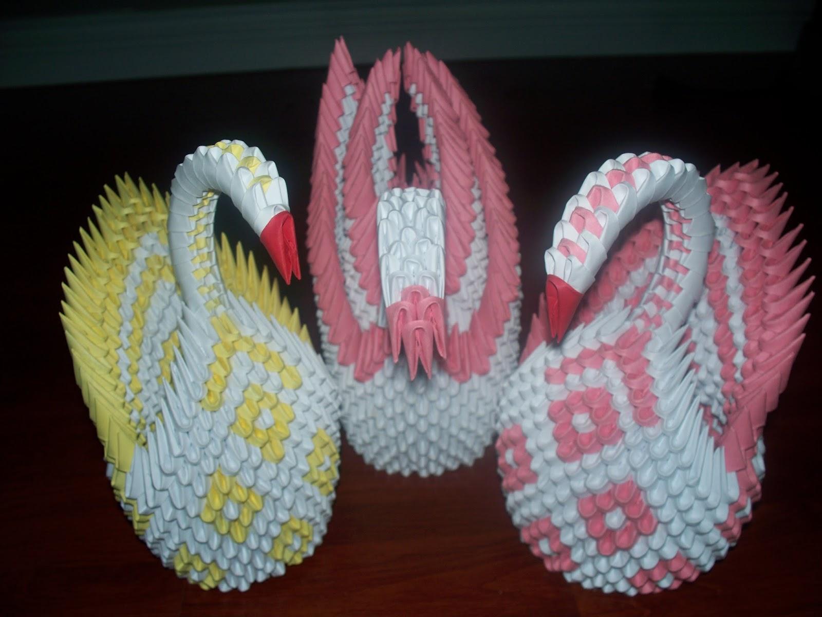 pin 3d origami diamond pattern swan tutorial on pinterest