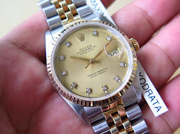 ROLEX OYSTER PERPETUAL DATEJUST GOLD DIAL DIAMOND INDEX - ROLEX 16233 - TWO TONE-SERIE X YEAR 1992