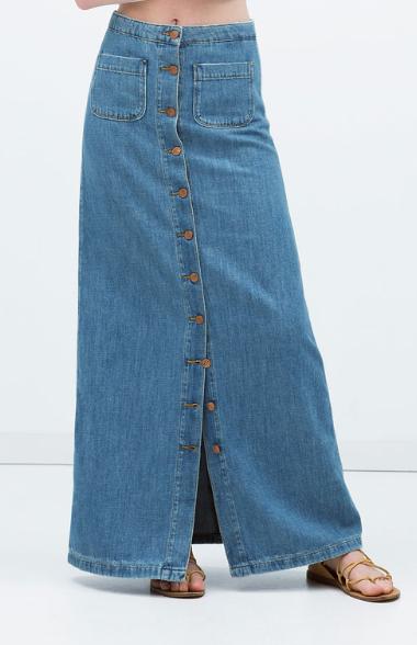 Falda vaquera larga botones Zara SS 2015