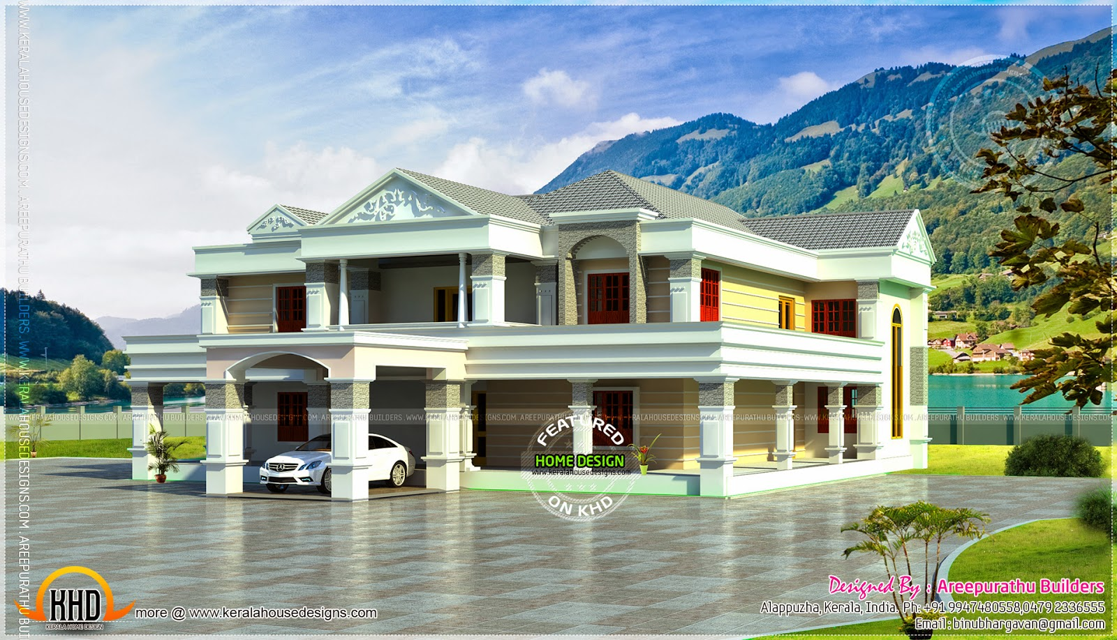 6 bhk super luxury home elevation kerala home design and for Luxury farmhouse plans