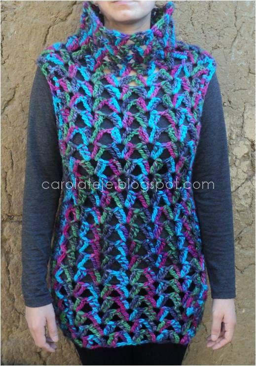 63 chaleco calado de lana carolateje - Lana gruesa para tejer ...
