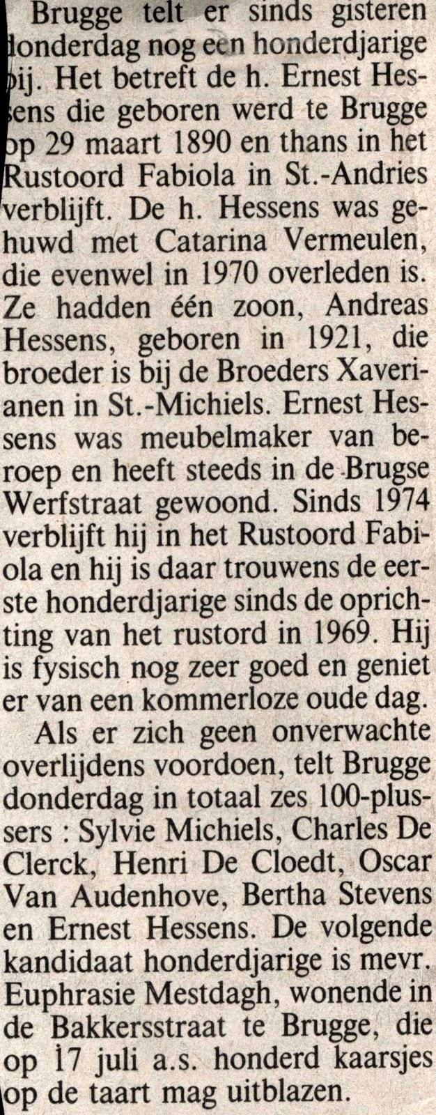 Artikel uit het Brugsch Handelsblad van april 1991, toen Ernest als honderdjarige werd gevierd.