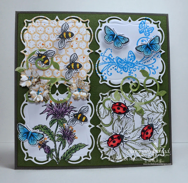 Our Daily Bread Designs, Honeycomb background, Butterfly and Bugs, Three Butterflies, Bee Balm, Leaves Background, Butterfly and Bugs dies, Layered Lacey Squares, Fancy Foliage, Birds and Nest, Designed by Elizabeth Whisson, Copics