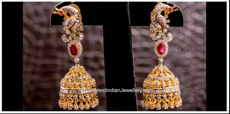 peacock design diamond jhumka earrings