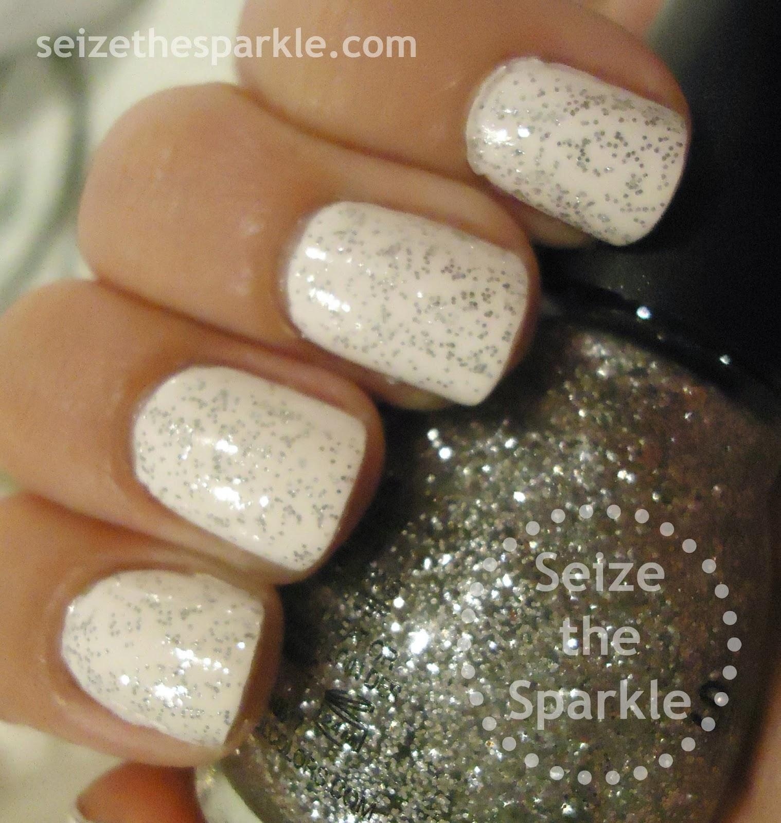 Silver Glitter over White Nails