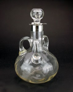ANTIQUE 20thC EDWARDIAN SOLID SILVER & GLASS WINE DECANTER, BIRMINGHAM c.1903