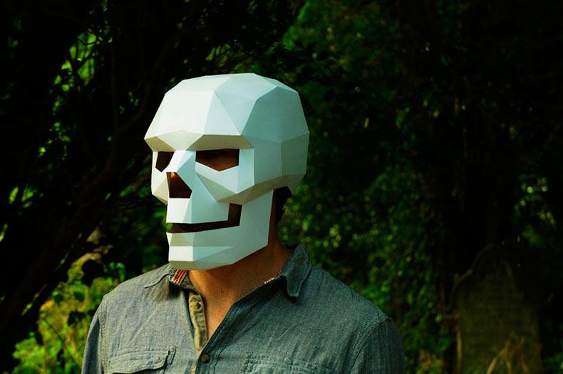Máscaras geométricas de papel de Steve Wintercroft