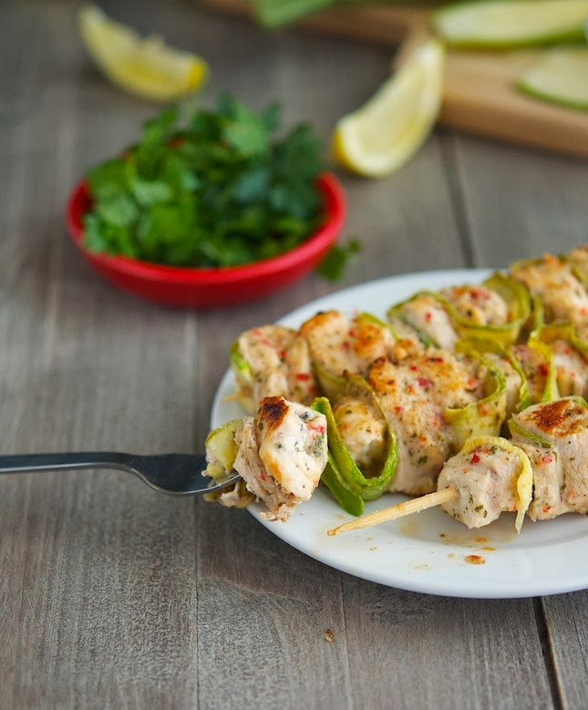 Spicy Chicken and Zucchini Kebabs