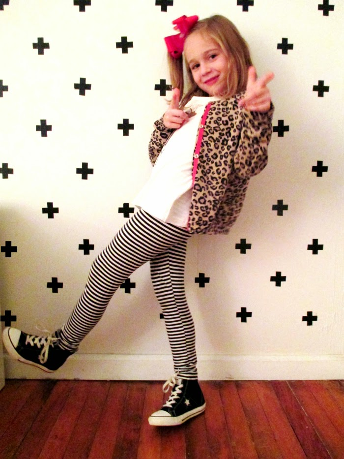 Kid's style how to mix stripes and leopard print