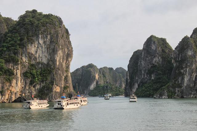 Cruise ships along scenary Halong Bay in Hanoi, Vietnam