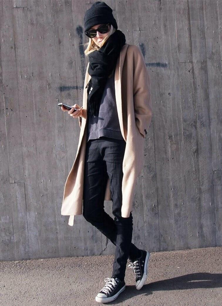 Camel coat Chuck Taylors