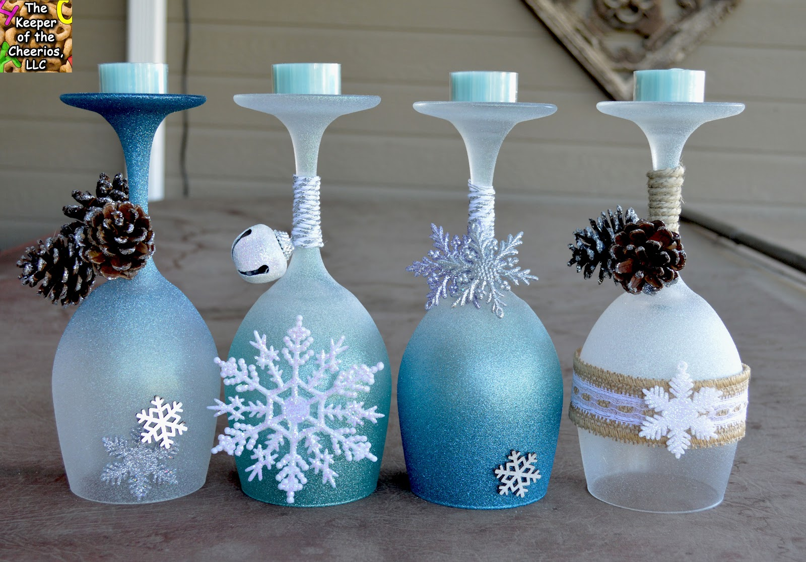 Winter wonderland wine glasses candle holders for How to make christmas candle holders