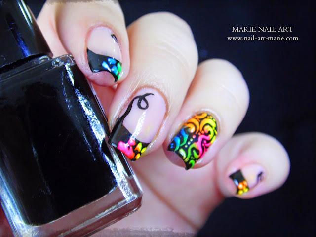 Nail Art Frenh et Arabesques Fluo5