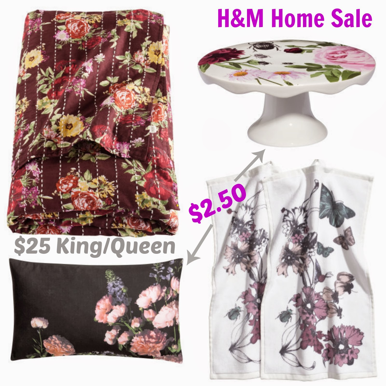 H&M Home Decor, Pillow, foral, tea towels, cake plate