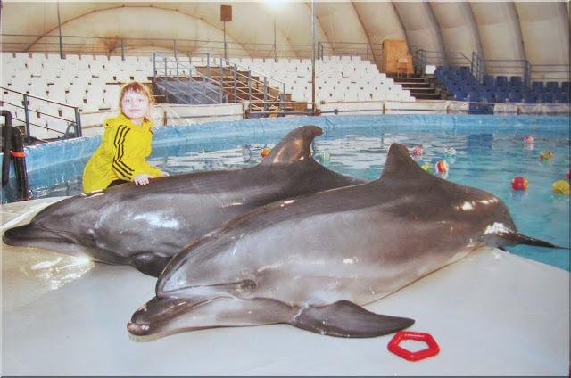 Настя и дельфины в дельфинарии. Томск